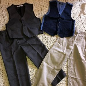 Two boys dress vests and dress pants